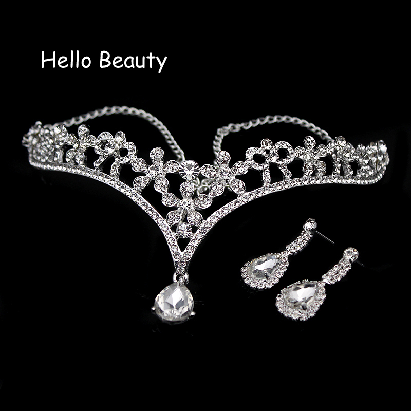 Clear Crystal Wedding Indian Hair Accessories Flower Bridesmaid Head Jewelry Rhinestone Forehead Head Pieces Bridal Hair Chain