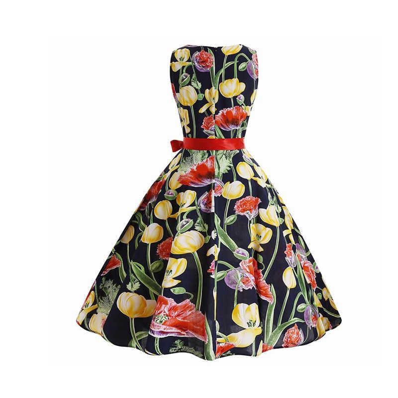 בציר שמלת נשים קיץ 2019 גדול נדנדה רוקבילי Robe Femme מקרית המפלגה שמלות בתוספת גודל אלגנטי פרחוני הדפסת קו שמלה
