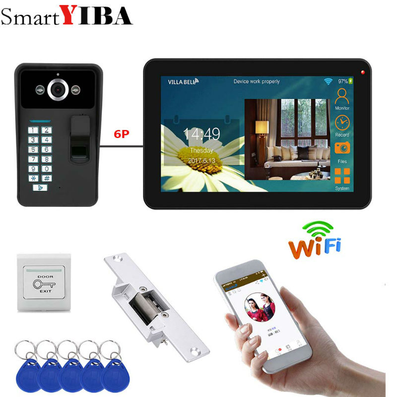 9 Inch Wired/Wireless Wifi Fingerprint Video Door Phone Doorbell Intercom System With Electric Strike Lock IR-CUT HD 1000TVL Cam