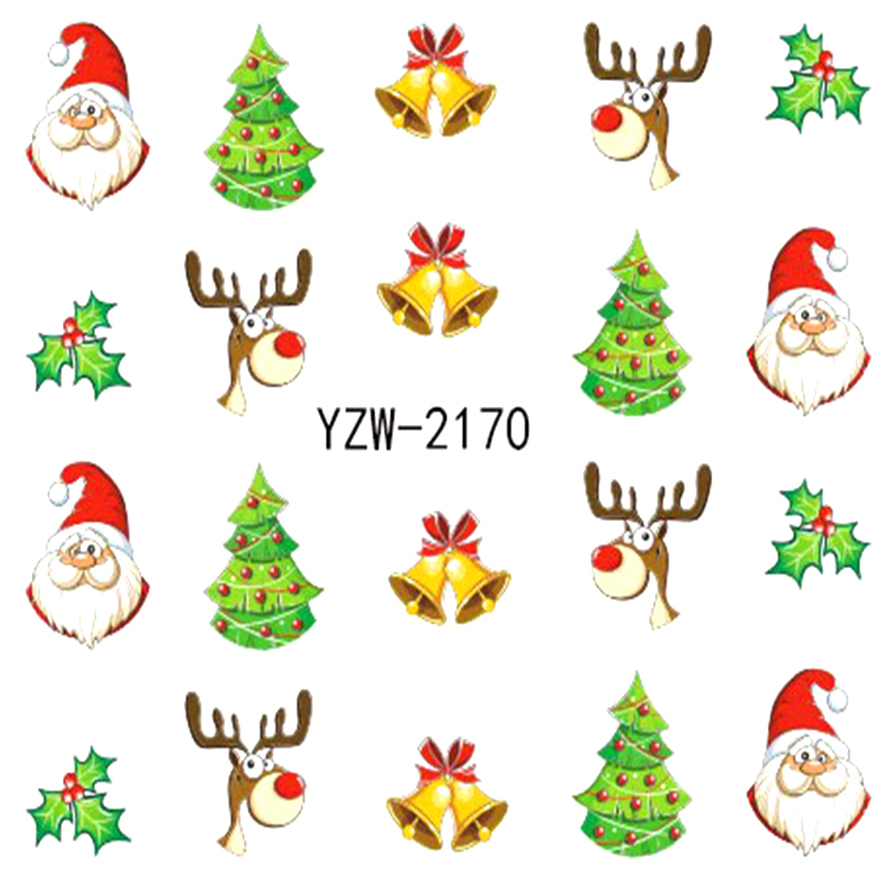 ZKO 1 Sheet Water Transfer  Christmas Designs Nail Art Sticker Decal Foil Adhesive Nails Tips Nail Decoration Makeup Tools 2170 wild style water transfer decal nail art decoration sticker