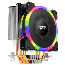 Aigo L5 LED CPU Cooler RBG fan cooling AMD Intel 5Pipes 120mm PC CPU silent CPU FAN double RGB ring(China)