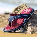 2016 Hombres Flip Flop Plana Sandalias de Cuero Para Hombre Zapatillas Casual Zapatos de Verano de Moda Playa de Los Hombres Sandalias Flip Flop