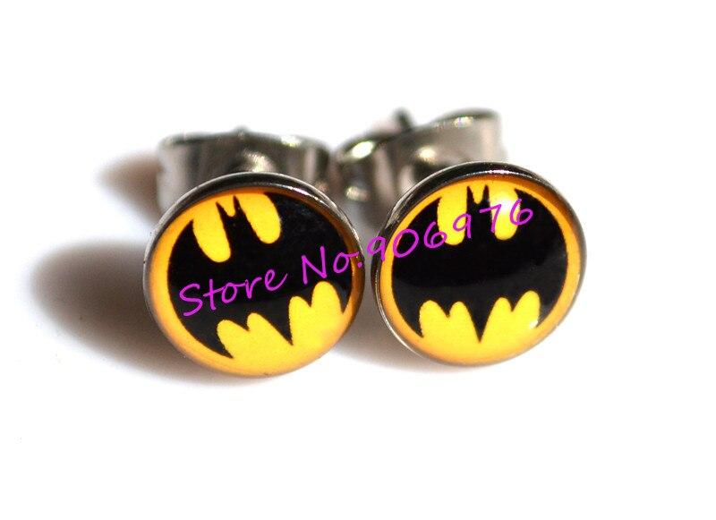 New Arrival Ear Stud Fancy Batman design Ear Ring Nail Gilrs glitter Jewelry 316l STAINLESS Steel Wholesale