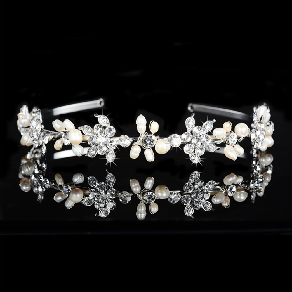 925 sterling silver cute pink flowers design tiara for women simulated pearl & Austrian crystal hair accessories wedding jewelry bridal crown HF042 (2)