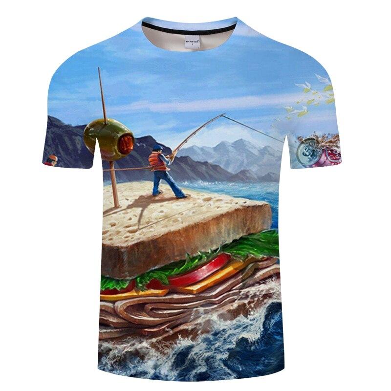 Fish 3d t-shirt Modal fun fish print digital men's women's COOL SUMMER t-shirts hip hop t-shirts harajuku Funny fishing tshirt