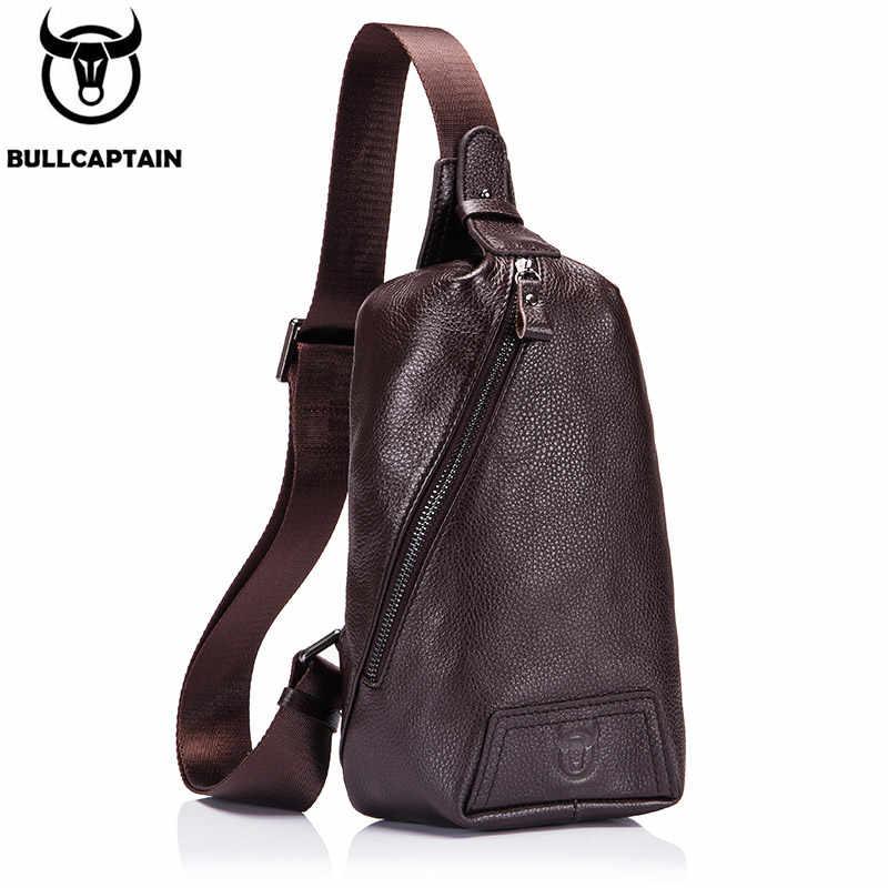 BULLCAPTAIN sacos dos homens saco do Mensageiro dos homens casuais moda e durável 100% primeira camada de couro bolsa de ombro '2019 novo moda