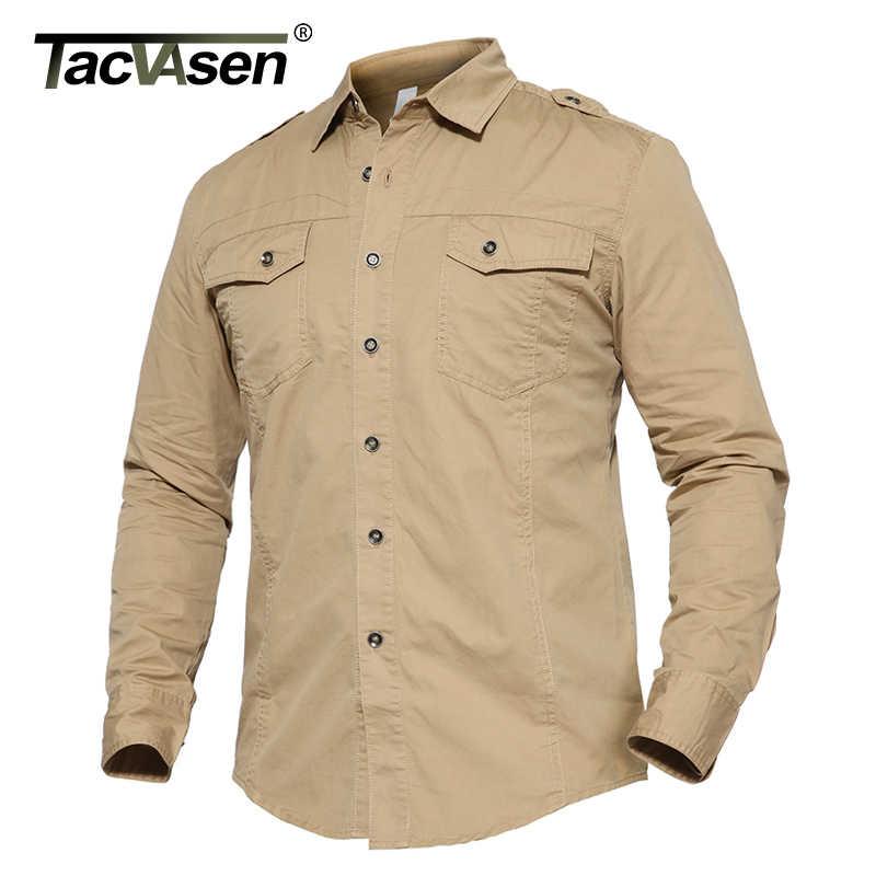 TACVASEN Осенняя военная одежда мужская тактическая рубашка Летняя тонкая с длинным