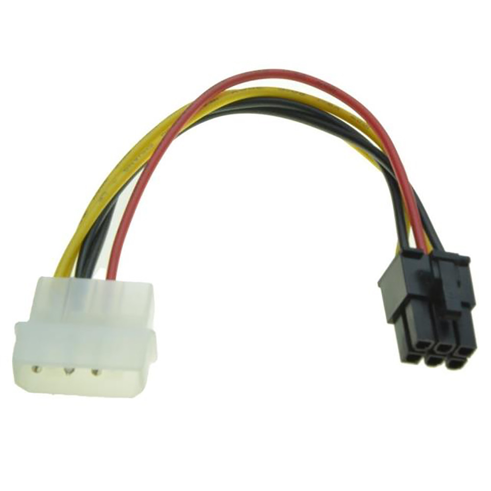 4 Pin Molex to 6 Pin PCI-Express PCIE Video Card Power Converter usb sata cable usb riser card rj45 connector dvi-d vga dual psu кабель orient c391 pci express video 2x4pin 6pin