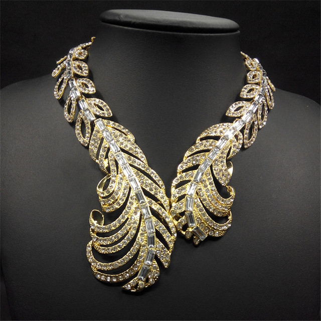 Europe Luxury Brand Jewelry Gold imitation Diamond Fashion Chunky Statement Necklace Crystal Leaves Collar Necklaces & Pendants