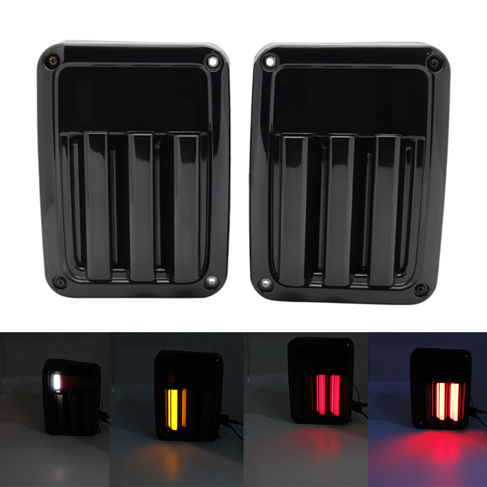 Premium LED Sequential Turn Signal Tail Light Lamp Assembly For 07-2018 Jeep Wrangler JK, Black Housing, Driver & Passenger SidePremium LED Sequential Turn Signal Tail Light Lamp Assembly For 07-2018 Jeep Wrangler JK, Black Housing, Driver & Passenger Side