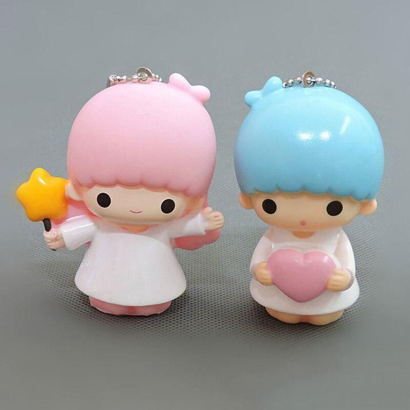 Виниловый брелок для ключей с симпатичными маленькими двойными звездами, 2 шт./лот, маленькие куклы, брелок для ключей, брелок, мини-аниме, му...