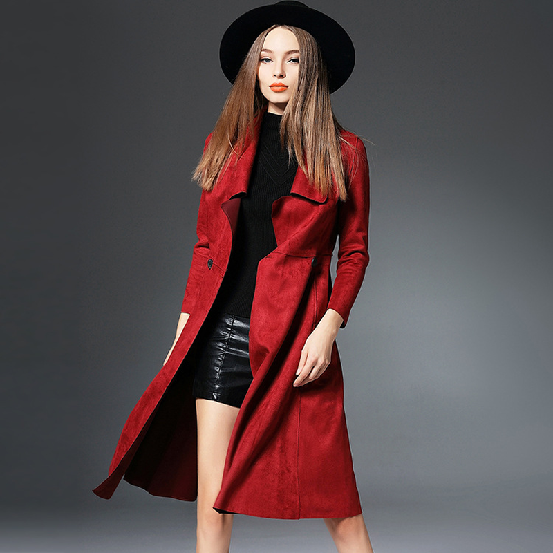 2019 Autumn Winter Wide Lapel Wool Blend Red Coat Slim Ladies Long   Trench   Coats Solid Red Color Single Button   Trench   Outerwear