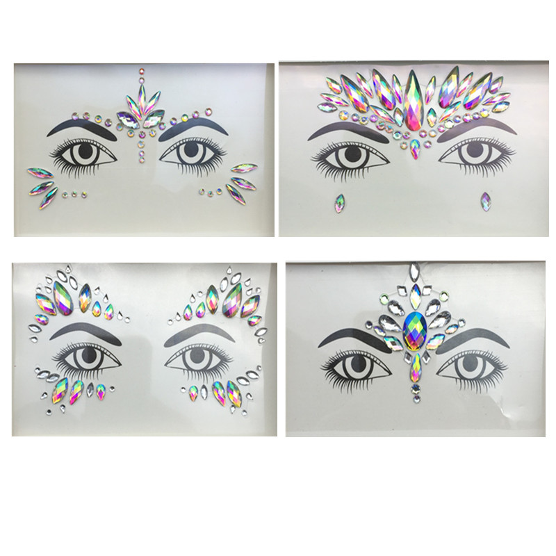 3D Crystal Glitter Jewels Tattoo Sticker Women Fashion Face Body Gems Gypsy  Festival Adornment Party Makeup Beauty Stickers-in Body Glitter from Beauty  ... d2acbefc408a