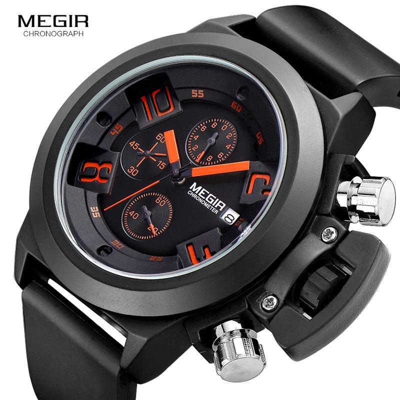 Megir Fashion Mens Silicone Band Sportowe zegarki kwarcowe Zegarek - Męskie zegarki - Zdjęcie 3