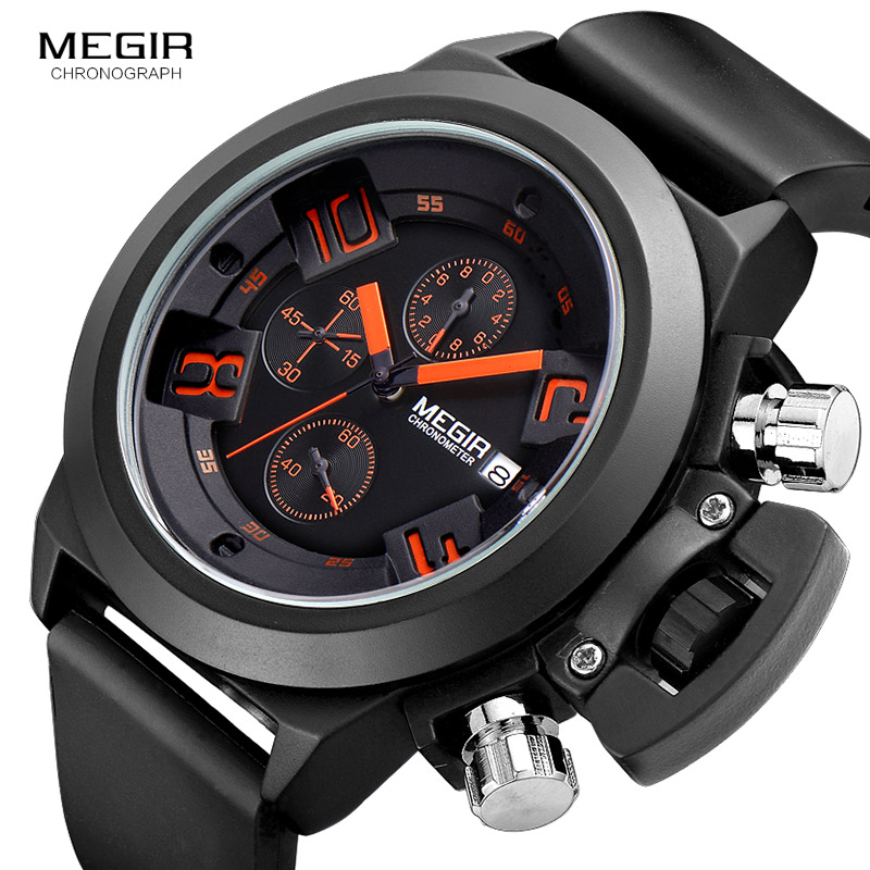 Megir Moda Hombres Banda de silicona Deporte Relojes de pulsera de - Relojes para hombres - foto 3