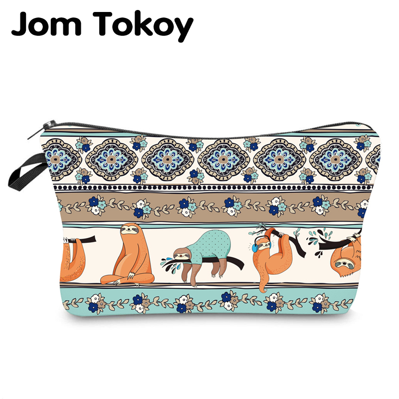 Jom Tokoy Water Resistant Makeup Bag Printing Sloth Cosmetic Bag Lovely Cosmetic Organizer Bag Women Multifunction Beauty Bag955