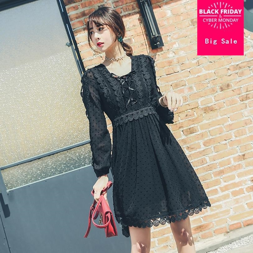 2018 spring fashion brand new womens dress Ttemperament Ladies embroidety lace patchwork ruffles  dress long lantern sleeve L126
