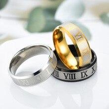 2019 exquisite new mens titanium steel ring stainless black couple Roman numeral male / female