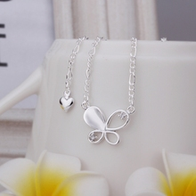 New Arrival!! Wholesale Cheap Solid Butterfly Anklets Silver plated Fashion Jewelry Personality Gift SMTA021