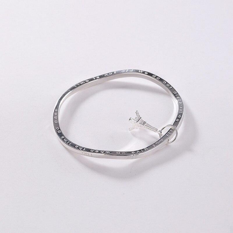 Uglyless 57MM diamètre torsion flexion bracelets pour les femmes solide 99.9% Fine argent tour Eiffel bracelets porte-bonheur lettre devise bracelet - 5