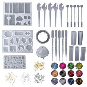 Image 2 - 1 Set Epoxy Harz Kit Schmuck Casting Werkzeuge DIY Handgemachte Handwerk Geschenke Halskette Armband, Die Entdeckungen Silikon Form Löffel