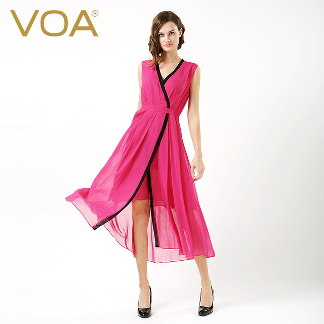 VOA Silk Long Club Dress Women Rose Red Sexy V Neck Summer Sleeveless Split  Wrap Dresses Elegant Ladies Clothes vestido A6585 a6381ef96