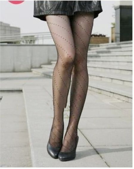 Jeseca зима осень женские сексуальные колготки сердце леопардовые точки кружевные ажурные колготки женские Чулочные изделия высокие шелковые чулки - Цвет: Twill dot