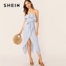 cc5c590ea2 SHEIN Lady Sexy Ruffle Front Wrap Belted Striped Tube Summer Boho  Sleeveless Dress