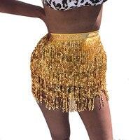 Tassel fringe sequin women Summer style beach short Sequin Belly  Dancer Costume Tassel Wrap Skirt Club Mini Skirt 1