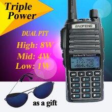 BaoFeng UV-82 8 w Nueva Versión UV82HX Portable Jamón Radio 10 KM Mango Radioaficionado Baofeng Walkie Talkie de Doble PTT UV-5r + Auricular