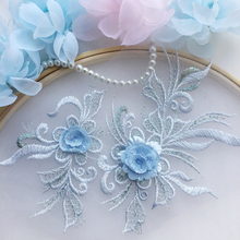 10 Pieces Beautiful 3D Flower Embroidery Neckline Lace Applique Trims Collar Sewing DIY Crafts Blue Dark Red Golden Ivory