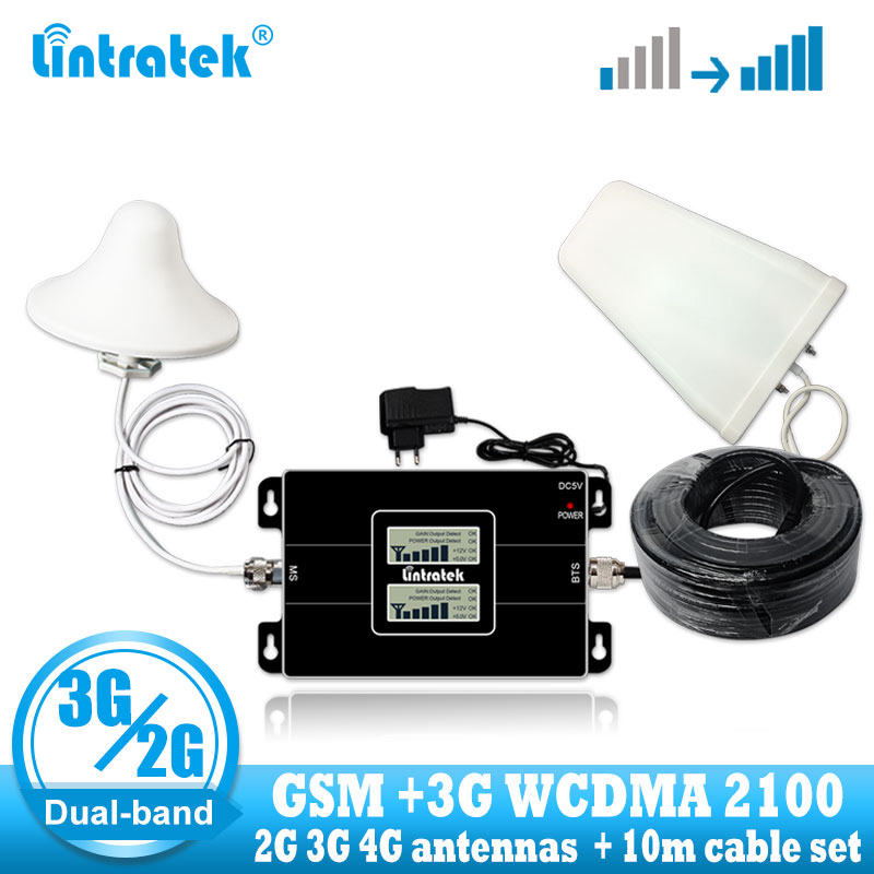 Lintratek Russia GSM 900 2100mhz Celular Bual band Cell Smart Phone Signal Booster WCDMA 3G GSM