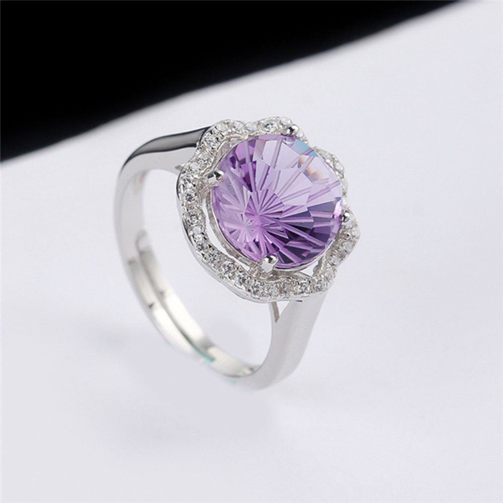 2e301071f wholesale SGARIT brand natural gemstone engagement jewelry adjustable 925  sterling silver yellow purple crystal ring for women | digmydealsclub !