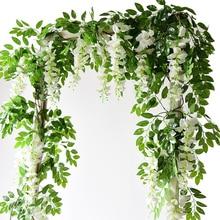 2 м Вистерия искусственная цветы венок из виноградных листьев свадебное украшение арки поддельные растения листва ротанга шлейф Искусственные цветы плюща стены