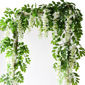 2M Wisteria Artificial Flowers Vine Garland Wedding Arch Decoration Fake Plants Foliage Rattan Trailing Faux Flowers Ivy Wall 2m artificial ivy green leaf garland plants vine fake foliage flowers home decor plastic artificial flower rattan string outdoor