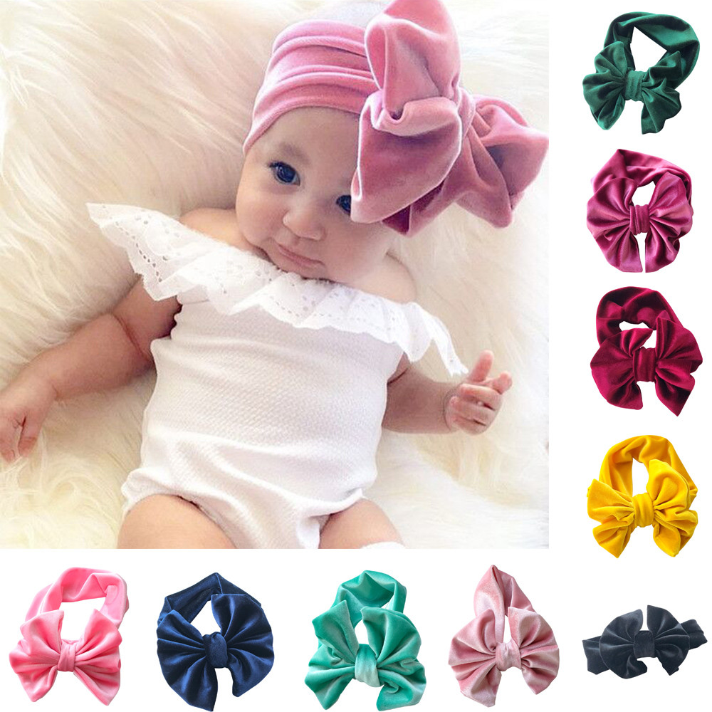 RQJ Baby Girl Headbands Elastic Headwrap Bowknot Mickey Ears Hairband With Sequin Bow for Baby Boys and Toddlers
