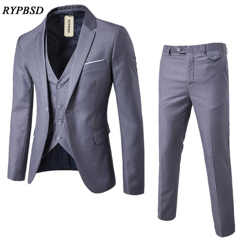 2019 New arrivals Custom Made dark gray Groom Tuxedo Wedding Suits For Men 3 pieces Suits