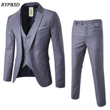 (Jacket+Pant+Vest) Luxury Men Wedding Suit Male Blazers Slim Fit Costume Homme Luxe Business Formal Party Grey Classic Black