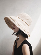 Cover face summer big fisherman hat ladies chic all match sun protection basin cap solid for women with Wind rope