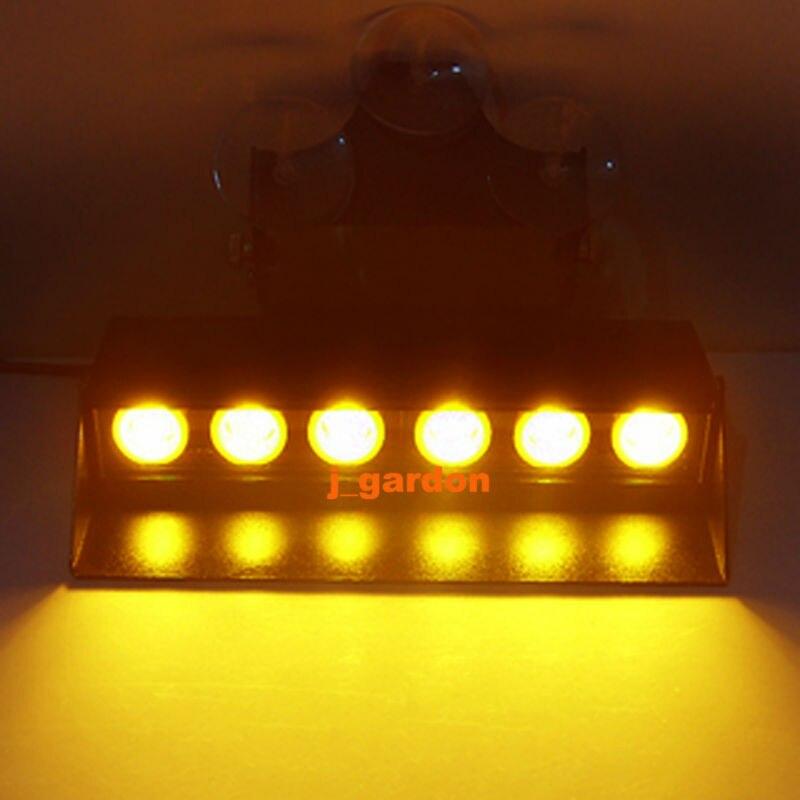 VSLED 6 LED 3W LightBar LED Light Windshield Emergency Beacon LightBar Hazard Strobe Warning Amber Light Bar
