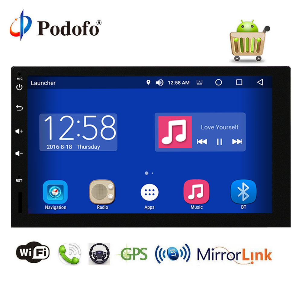"Podofo 7"" Car Multimedia Player Octa Core RAM 4G ROM 32G 2 Din Android Car Audio Stereo Radio GPS Navigation WiFi Mirror Link"