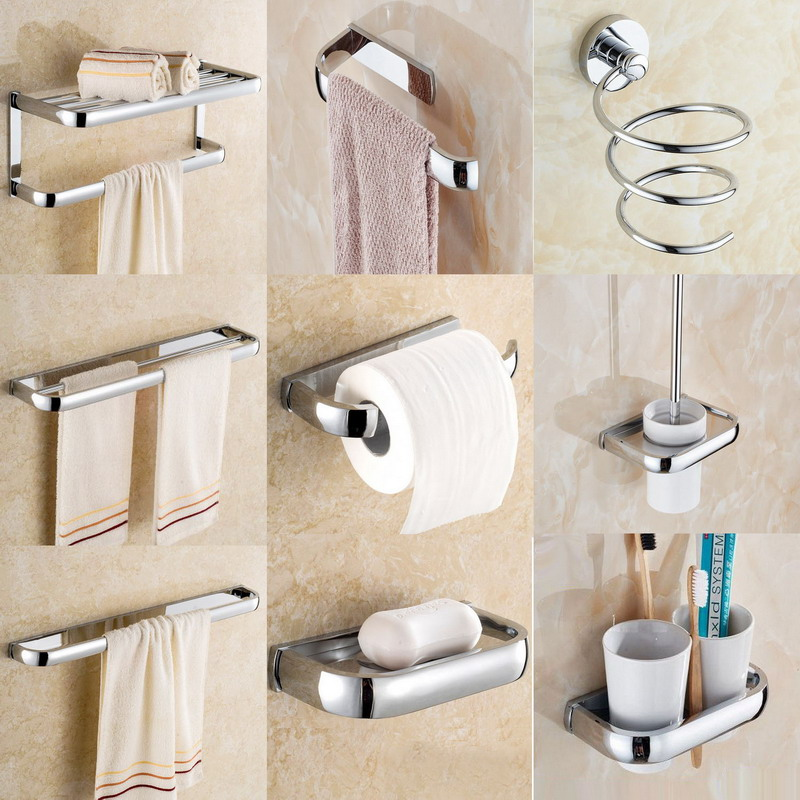 Wall Mounted Silver Polished Chrome Brass Square Bathroom Accessories Set Bath Hardware Towel Bar Aset002