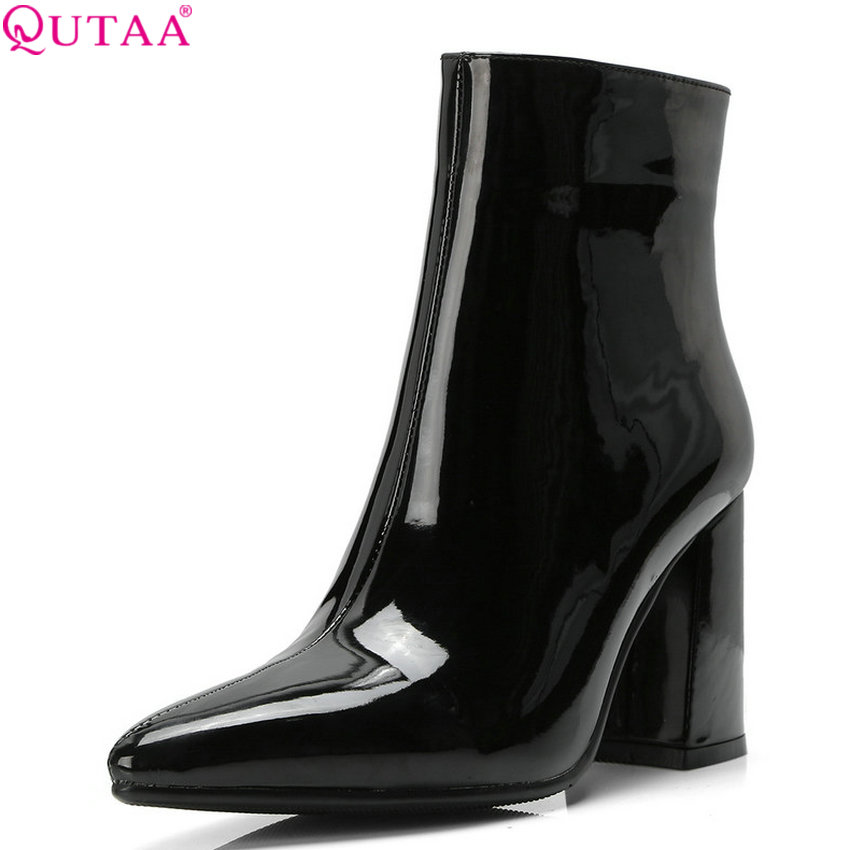 QUTAA 2019 Women Shoes Pu Leather Women Ankle Boots Square High Heel Pointed Toe Sexy Fashion Winter Women Boots Big Size 34-42 qutaa 2018 black women ankle boots square high heel pointed toe genuine leather fashion zipper women motorcycle boots size 34 42