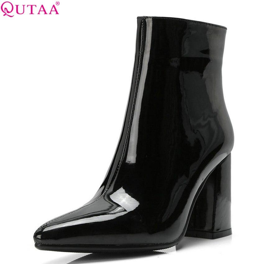 QUTAA 2020 女性の靴 Pu レザー女性アンクルブーツスクエアハイヒールなファッション冬の女性のブーツビッグサイズ 34 42  グループ上の 靴 からの アンクルブーツ の中 1