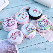 Mini bolsa Kawaii para mujer, monedero de unicornio de dibujos animados, billetera para niños y niñas, organizador de auriculares, caja de regalo de Navidad