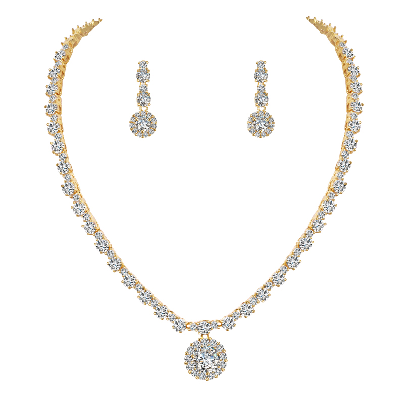 WEIMANJINGDIAN Halo Round Cubic Zirconia CZ Crystal Wedding Bridal Jewelry Set In Gold / Silver Colors