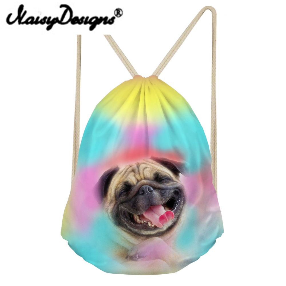 Noisydesigns Beach Bags 3D Pug Dog Printing Colorful Drawstring Backpack Boy'sPortable Bag Storage Pouch For Women Mochila 2018