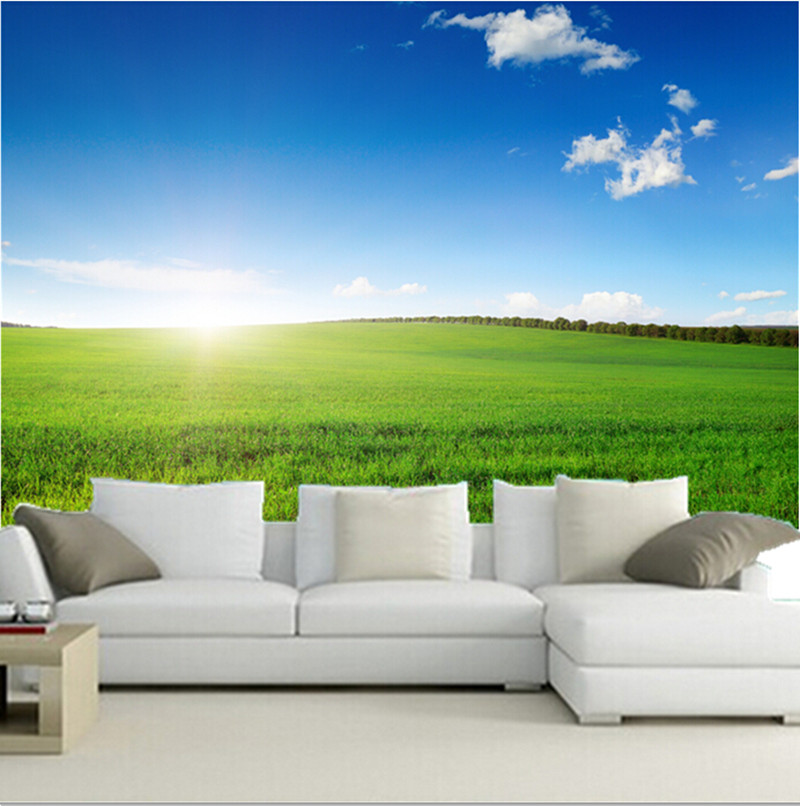 The custom 3D murals,Beautiful blue sky and white clouds of grassland papel de parede,the living room TV wall bedroom wallpaper