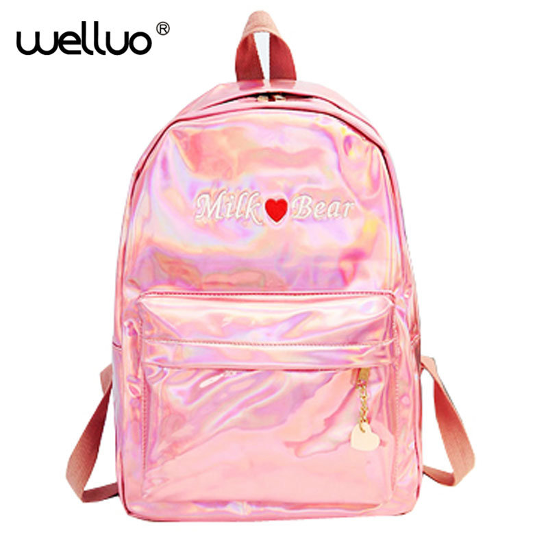 Laser Sequins embroidery Women Backpack High Quality Pu Leather School Bags For teenager New Black Backpack