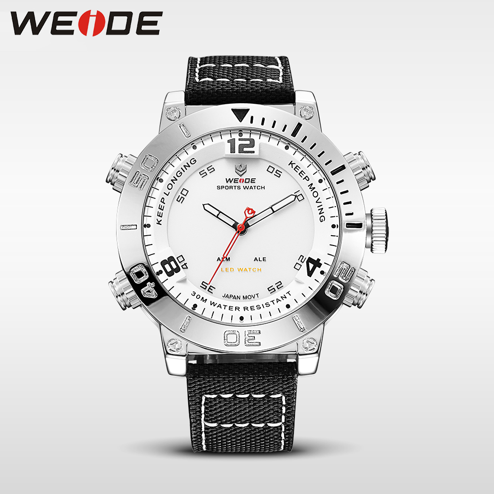 WEIDE watch luxury quartz watch sport digital nylong watch fashion casual water resistant white alarm clock relojes hombre 2017 in Quartz Watches from Watches